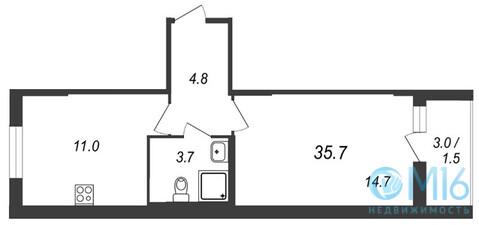 Продажа 1-комнатной квартиры, 35.7 м2 - Фото 1