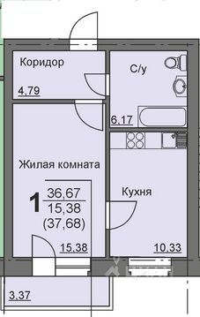 Студия Курганская область, Курган 16-й мкр, 11 (36.9 м) - Фото 1