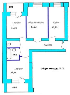 Продается 3-комнатная квартира в п.Пригородный, ул.Сиреневая, 4 - Фото 2