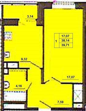 1-комнатная квартира 39,5 кв. м в новостройке, ул. Кирова, д. 17