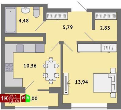 Продажа однокомнатная квартира 37.4м2 в ЖК Солнечный гп-1, секция в - Фото 1