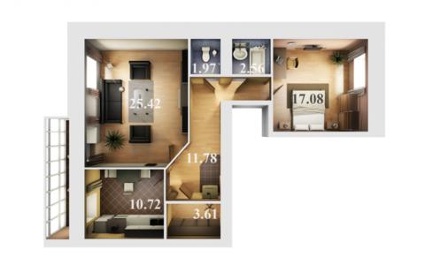 ЖК Журавли Даурская 46-3 двухкомнатная квартира рядом м.Горки - Фото 1
