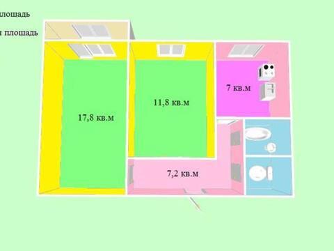 2 200 000 Руб., Продажа двухкомнатной квартиры на улице Космонавтов, 13 в Черкесске, Купить квартиру в Черкесске по недорогой цене, ID объекта - 319818793 - Фото 1