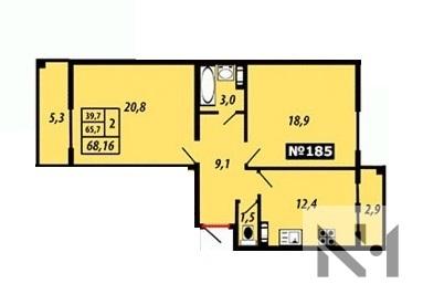Продается большая евро-двухкомнатная квартира с двумя балконами - Фото 1