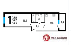 Однокомнатная квартира 39 кв.м в Новых Ватутинках, Купить квартиру в новостройке от застройщика в Москве, ID объекта - 321684159 - Фото 1