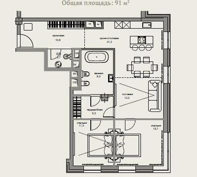 Элитный комплекс апартаментов «Гороховский 12». Апартамент 91,3 км. м - Фото 3