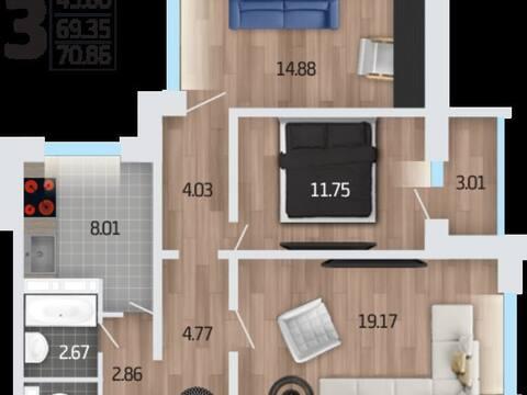 Продажа трехкомнатной квартиры в новостройке на Корейской улице, влд6а ., Купить квартиру в Воронеже по недорогой цене, ID объекта - 320583638 - Фото 1
