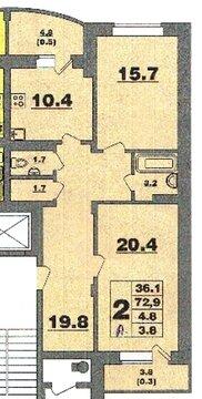 Большая двухкомнатная квартира с идивидуальным отоплением в 14 мкр - Фото 5