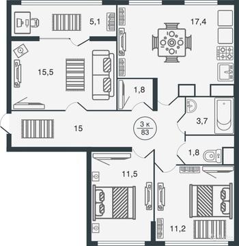 Большая 3-х комнатная квартира в новом доме с индивидуальным отопл. - Фото 2