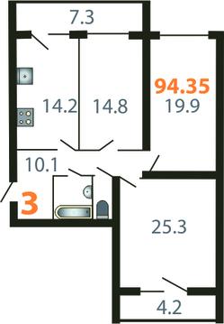 3-комнатная квартира на ул.Гвардейская - Фото 1