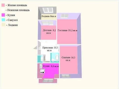 Продажа трехкомнатной квартиры на Советской улице, 189 в Черкесске, Купить квартиру в Черкесске по недорогой цене, ID объекта - 319818763 - Фото 1