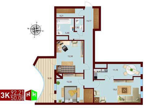 Продажа трехкомнатная квартира 92.21м2 в ЖК монтекристо секция а - Фото 1