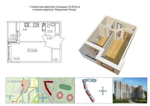 """Квартира в собственности в новом доме. ЖК """"Муринский Посад"""""""
