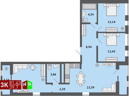 4 490 000 Руб., Продажа трехкомнатная квартира 81.43м2 в ЖК Солнечный гп-1, секция а, Купить квартиру в Екатеринбурге по недорогой цене, ID объекта - 315127814 - Фото 1