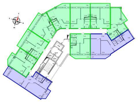 Продажа однокомнатная квартира 45.53м2 в ЖК Рощинский дом 7.2. секция . - Фото 2