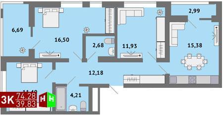 Продажа трехкомнатная квартира 74.28м2 в ЖК Солнечный гп-1, секция б - Фото 1