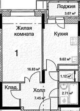 1-комнатная квартира в новостройке, ул. Каширское шоссе, д. 6