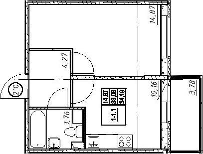 Объявление №48966411: Квартира 1 комн. Санкт-Петербург, Петергофское ш., 86, к 1,