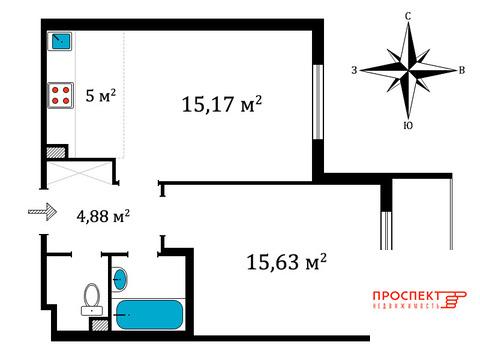 Продам отличную 1-к. квартиру 46 кв.м по переуступке, Солнечный город - Фото 2