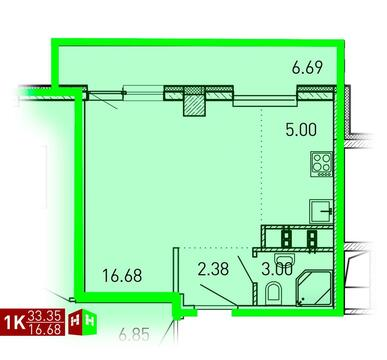 Продажа однокомнатные апартаменты 33.35м2 в ЖК Рощинский дом 7.3. . - Фото 1