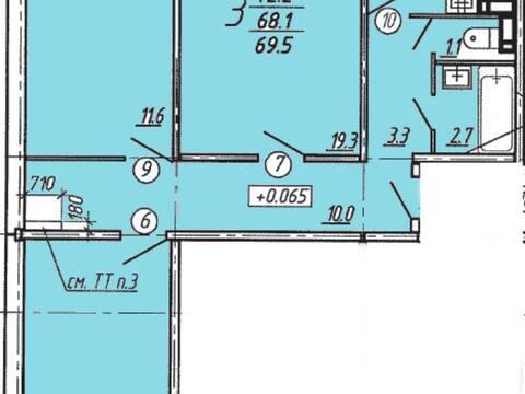 Продажа трехкомнатной квартиры в новостройке на Ростовской улице, 61 в ., Купить квартиру в Воронеже по недорогой цене, ID объекта - 320573841 - Фото 1
