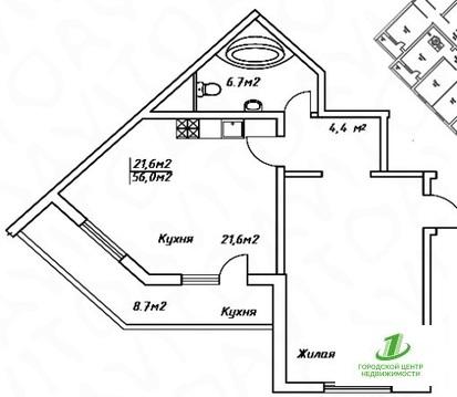 Однокомнатная квартира 56 кв.м. - Фото 1