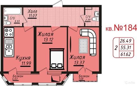 Двухкомнатная квартира в Кисловодске от Застройщика в р-не с.Москвы - Фото 4