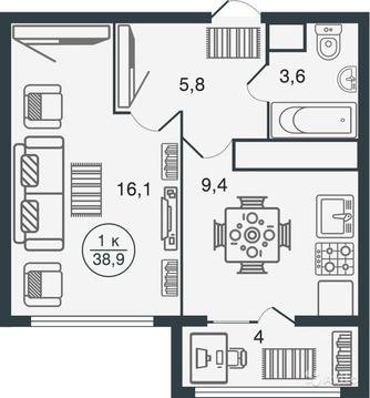 Продается однокомнатная квартира в новом ЖК Норвежский квартал - Фото 3