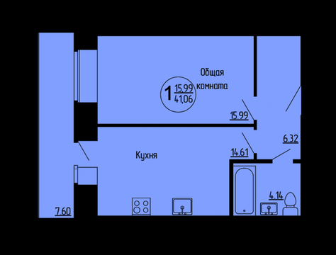 1 ком квартира в ЖК Аэробус