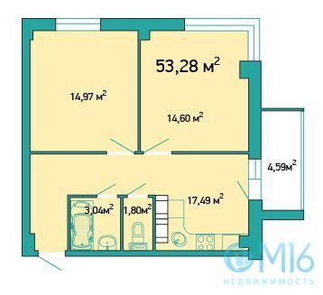 Продажа 2-комнатной квартиры, 53.02 м2 - Фото 2