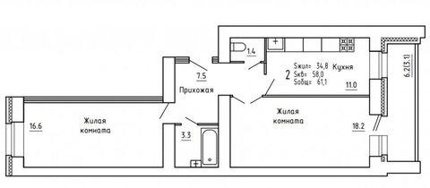 Продажа 2-комнатной квартиры, 61.1 м2, Пугачёва, д. 29а, к. корпус А - Фото 2