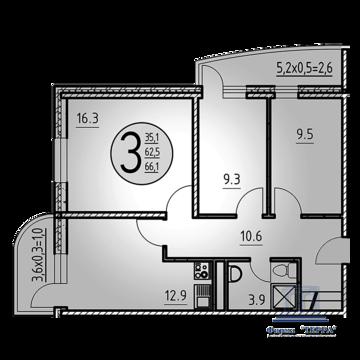 Объявление №50309926: Квартира 3 комн. Ростов-на-Дону, ул. Нансена, 103 к1,
