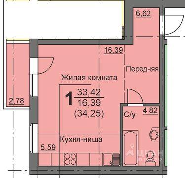 Студия Курганская область, Курган 16-й мкр, 11 (34.1 м) - Фото 1