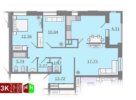 Продажа трехкомнатная квартира 74.06м2 в ЖК Каменный ручей гп-2, Купить квартиру в Екатеринбурге по недорогой цене, ID объекта - 315127800 - Фото 1