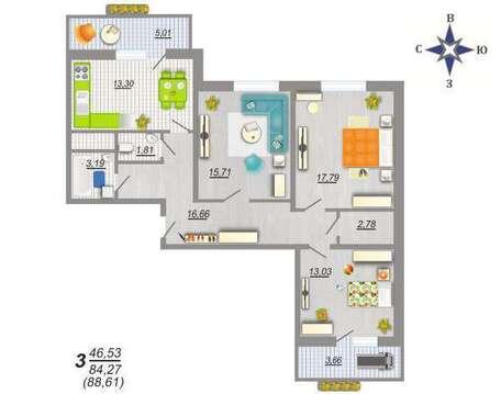 3-х квартира - Фото 3