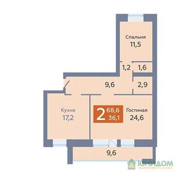 2 комнатная квартира в новом доме, пр. Солнечный, д. 8к2 - Фото 1