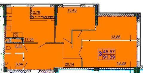 3-комнатная квартра в новом строящемся доме 92 кв.м., Купить квартиру в Белгороде по недорогой цене, ID объекта - 317345716 - Фото 1