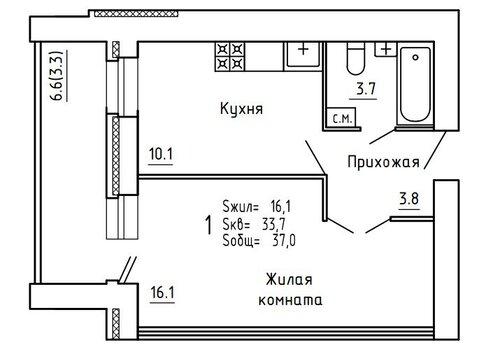Продажа 1-комнатной квартиры, 36.8 м2, Пугачёва, д. 29а, к. корпус А - Фото 3