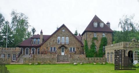 Дом - замок в английском стиле на берегу реки, 1-я линия, уч. 60 соток - Фото 1