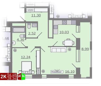 Продажа двухкомнатная квартира 56.48м2 в ЖК Каменный ручей гп-2 - Фото 1