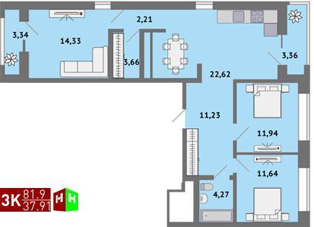 Продажа трехкомнатная квартира 81.9м2 в ЖК Солнечный гп-1, секция к - Фото 1
