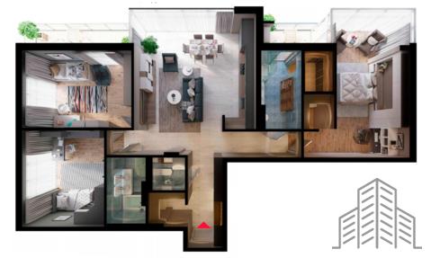 Эксклюзивная 3-комнатная квартира с панорамным остеклением элиткласса - Фото 1