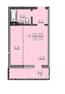 Студия проспект Мира 5, площадью 28.5 кв.м, на 9 этаже