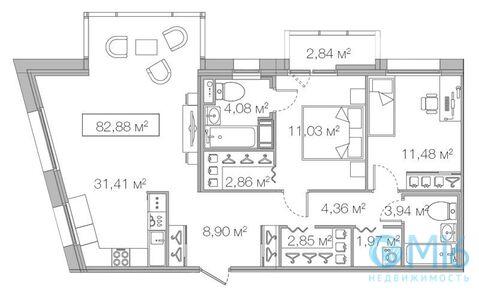 Продажа 2-комнатной квартиры, 82.88 м2 - Фото 1