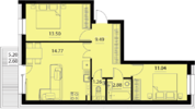 Двухкомнатная квартира (евротрешка) в ЖК Русский Авангард
