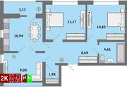 Продажа двухкомнатная квартира 57.21м2 в ЖК Солнечный гп-1, секция г