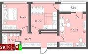 Продажа двухкомнатная квартира 52.7м2 в ЖК Суходольский квартал гп-1, . - Фото 1