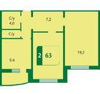 2 комнатная квартира в новом доме, ул. Семенова, д. 27к3, Тюменский, Купить квартиру в Тюмени по недорогой цене, ID объекта - 323055362 - Фото 4