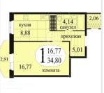 Продам 1-комн. квартиру, Антипино, Беловежская, 7 к2