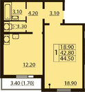 Продажа 1-комнатной квартиры, 45 м2, Бестужевская улица, д. 7к3